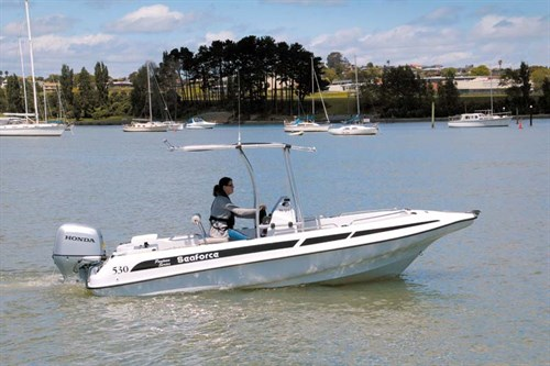 Aluminium T-top on Seaforce 530 Skipa fibreglass pontoon boat.