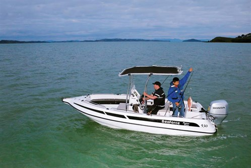 Seaforce 530 Skipa 'glass pontoon boat with 80hp Honda